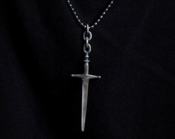 fathers day gift, Sword Pendant Necklace for Men on Sterling Silver Ball Chain
