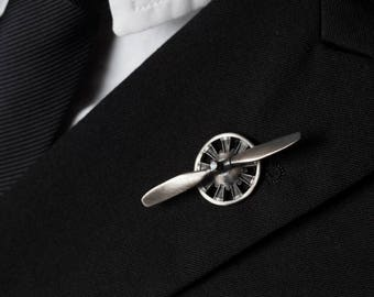 fathers day gift, Propeller Tie Tack Lapel Pin with Spinning Propeller in Solid Sterling Silver, Great Gift for Airmen