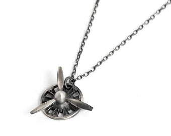 Spinning Propeller Necklace for Men – 3 Blade Propeller Pendant Necklace Sterling Silver, Great Pilot Gifts for Men