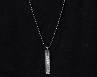 Textured Bar Necklace in Sterling Silver for Men with Vertical Bar