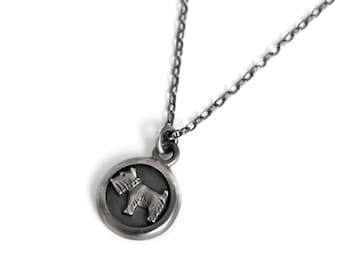 Scotty Dog Medallion Necklace in Sterling Silver, Scottish Terrier Jewelry