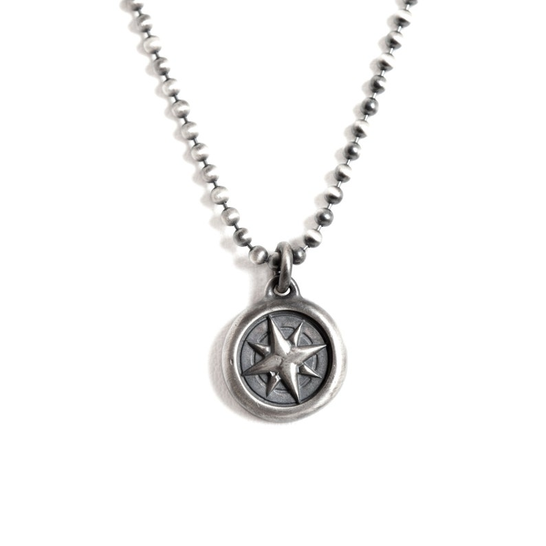 fathers day gift Men\u2019s Compass Necklace Sterling Silver on Sterling Silver Ball Chain Christmas gift for boyfriendGift for Him