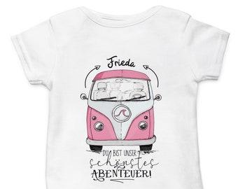Baby Body Strampler Bus Bulli Rosa mit Wunschname