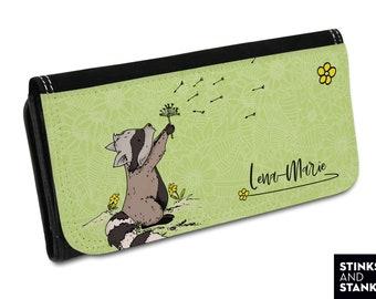 Purse, raccoon, raccoon fabric, purse dandelion