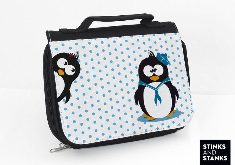 be6307462478 Penguin Wash Bag Children, Toiletry bag Kids, Large Cosmetic Bag, Bag with  Dots, Penguin Fabric, Gift for Kids, Penguins, Dots