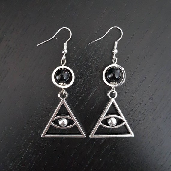 Mystical Eye Gothic Triangle Earrings Illuminati All Seeing Etsy