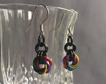 Rainbow mobius chainmaille earrings