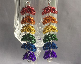 Rainbow Byzantine chainmaille earrings