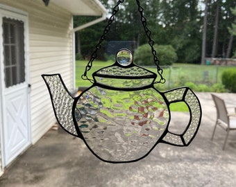 Stained glass tea pot - clear textures