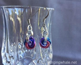 Bi Pride mobius chainmaille earrings