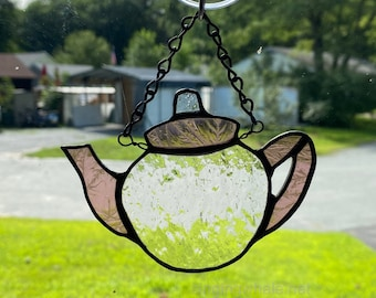 Stained glass teapot ornament - purple and clear textured