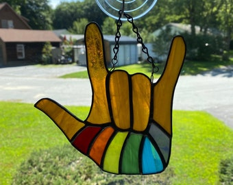 Stained glass I Love You ASL hand