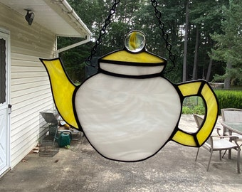 Stained glass tea pot - yellow and white