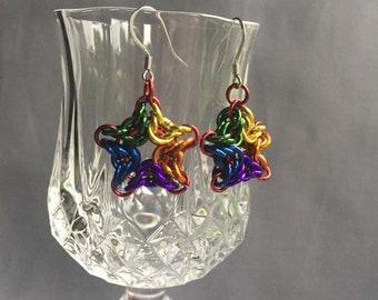 Rainbow Byzantine star chainmaille earrings