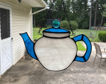 Stained glass tea pot - blue and white