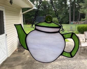 Stained glass tea pot - green and purple