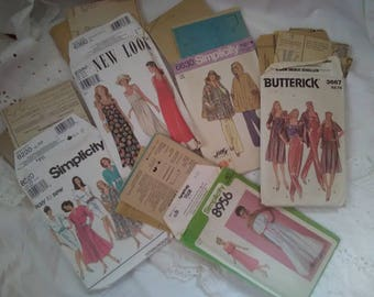 Lot of 5 Vintage Sewing Patterns, New Look, Butterick, Simplicity, Used, Some New 1974,79,92,95, No Date on the Butterick Pattern