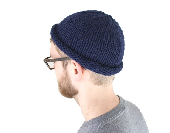 ab34fd7c858 Fisherman Beanie Hand Knit in Deep Sea Navy Blue 100% wool