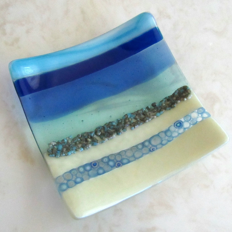 Unique Home Decor 1980s Studio Art Aquamarine Fused Glass Plate Handcrafted One Of A Kind