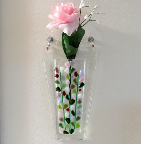 Fused Glass Wall Pocket Vase Glass Flowers Vase Blooming Etsy