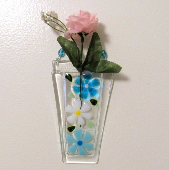 Fused Glass Wall Vase Glass Flower Vase Glass Wall Hanging