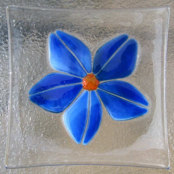 Fused Glass Plate Blue Flower Soap Dish Caribbean Blue And Etsy