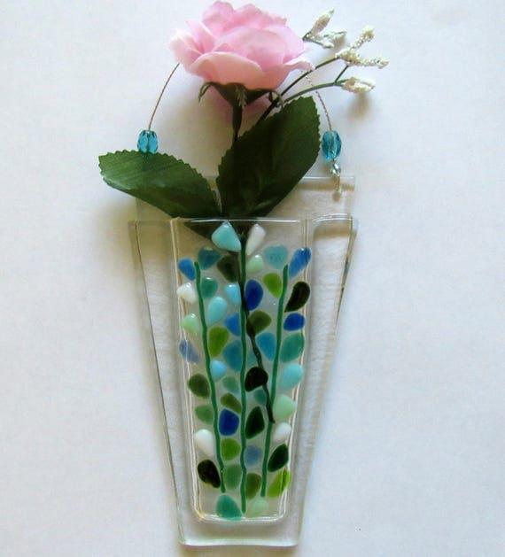 Fused Glass Wall Vase Wall Hanging Pocket Flower Vase Etsy