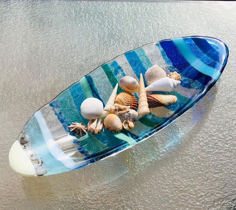 Fused Glass Beach Oval Bowl, Ocean Beach Dish, Sand, Sea, Sky, Turquoise Blue Sea Glass Plate, Ocean Wave, Beach House Decor, Twisted Cane