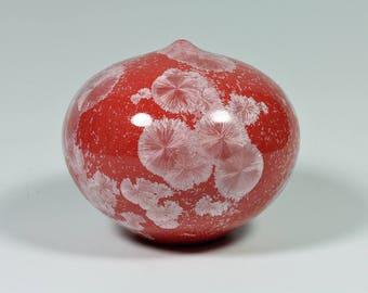 Round Red Crystalline Vase