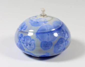 Bright Blue Gradient Crystalline Glazed Oil Lamp