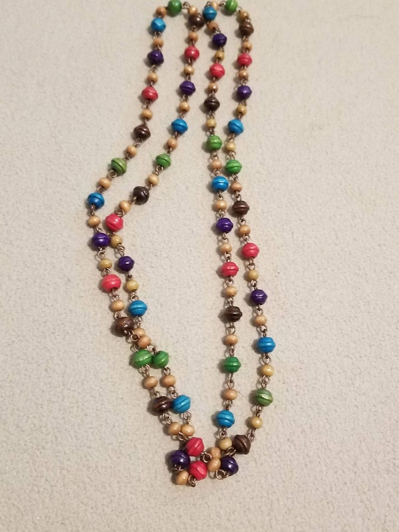 Colorful wooden necklace
