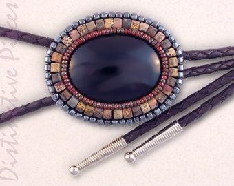 Leopardskin Jasper /& Pearl Bolo Tie BO3040009 Beaded Layering Necklace BlackDark Pink Bolo Tie Beaded Bolo Tie Women/'s Western Bolo