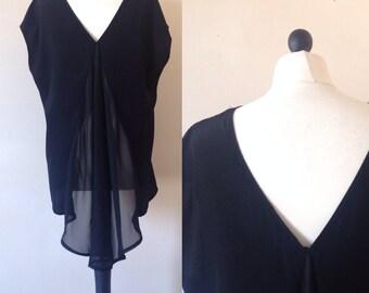 vintage 1990s black sheer panel evening top blouse. UK 10-12