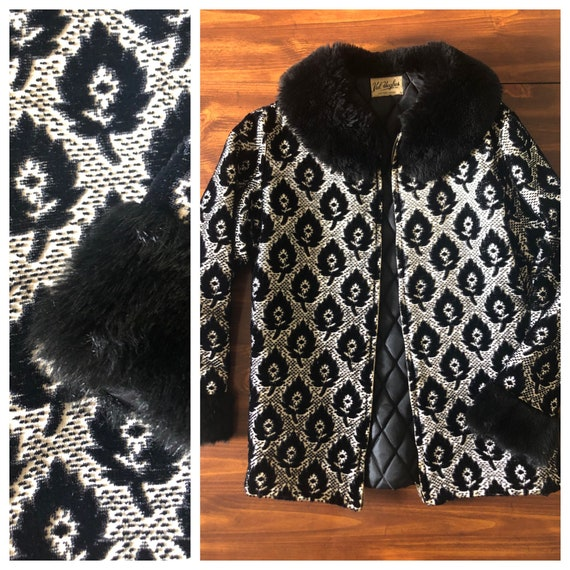Vintage 60s Val Hughes Black and White Faux Fur Co