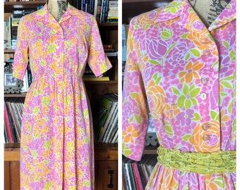 Vintage 50s - 60s Pink Yellow Orange Retro Floral Dress L-XL