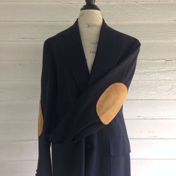 Vintage Suit Jacket w Elbow Patches , Navy Professor\u0027s Jacket w Caramel  Suede Elbow Patches