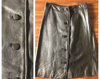 80s 90s Vintage Black Leather Skirt - M