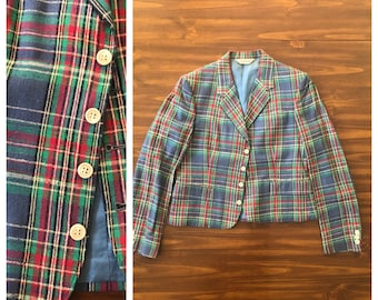 Vintage 50s PLAID Tartan Textured SILK Cropped Jacket Blazer S-M