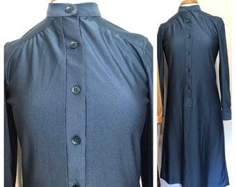 Vintage 70s Shimmery Midnight Blue Dress M-L