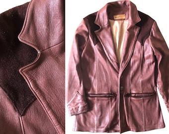 Vintage 60s 70s Rare Country Western Oshwahkon Leather Jacket with Suede Yoke Detail