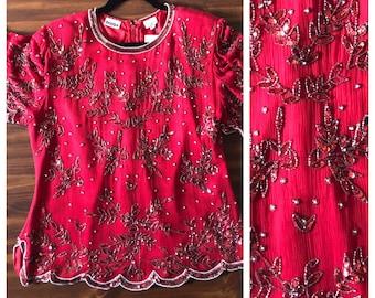 Vintage 80s Beaded Sequin Silk Beaded Blouse