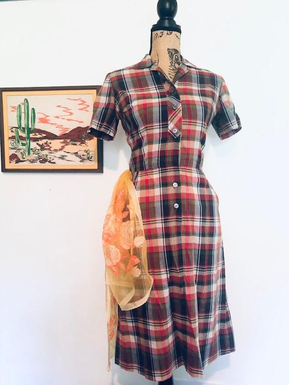 50s Plaid Tartan Dress