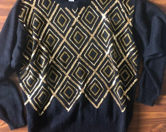 90s Black and Gold Sequin Beaded Sweater - Plus Size