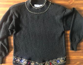 Vintage 80s Bejeweled Black Sweater