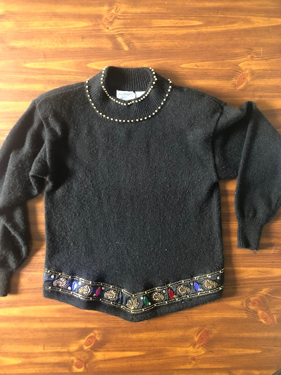 Vintage 1980\u2019s Bejeweled Rhinestone Studs Jeweled Black Sweater Stunning!