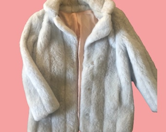 80s Gray Faux Fur Coat - Up to XL