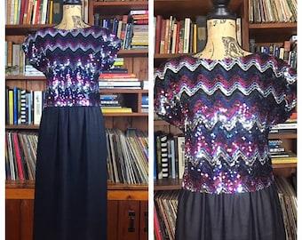 Vintage 1970s Dress w SEQUIN - Chevron Striped Top (Attached)