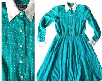 80s Does 50s Teal Polka Dot Dress