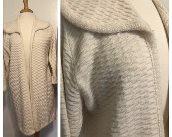 Vintage Ades of California Knit Open Front White Cardigan