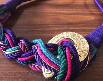 Vintage 80s Purple Rope Belt with Gold Buckle